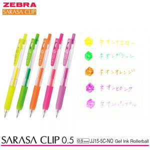 Zebra Sarasa Clip 0.5 Retractable Gel Ink Pen Rubber Grip 0.5 mm Neon Colors 5 Color Ink JJ15-5C-NO