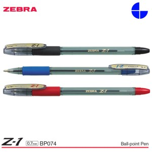 Zebra Z-1 Stick Ball-Point Pen 0.7MM Smooth Low Viscosity Ink Clear Barrel (Pack of 12 Pens) BP074 Black/ Blue/ Red