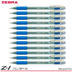 Zebra Z-1 Stick Ball-Point Pen 1.0MM Smooth Low Viscosity Ink Clear Barrel BP118 (Pack of 12 Pens) Black/ Blue/ Red – Blue