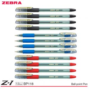 Zebra Z-1 Stick Ball-Point Pen 1.0MM Smooth Low Viscosity Ink Clear Barrel BP118 (Pack of 12 Pens) Black/ Blue/ Red