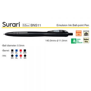 Zebra Surari Emulsion Ink Ball-Point Pen 0.5MM BNS11 – Dark Black, 1 Pen