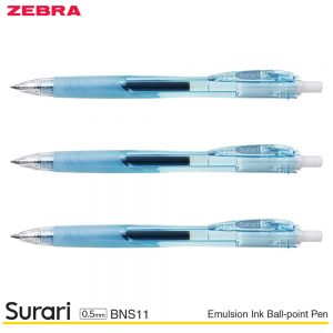 Zebra Surari Emulsion Ink Ball-Point Pen 0.5MM BNS11 – Light Blue, 3 Pens