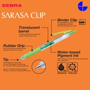 Zebra JJB15 Sarasa Clip 0.7 mm Retractable Gel Ink Roller Ball Pen Rubber Grip