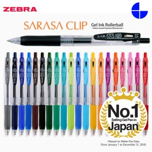 Zebra JJ15 Sarasa Clip 0.5 mm Retractable Gel Ink Roller Ball Pen Rubber Grip