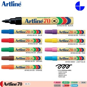 Artline 70 Permanent Marker 1.5mm Writing Width Instant Drying Waterproof (EK-70)