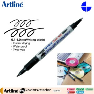 Artline 841T Twin CD-R Permanent Marker (EK-841T) 0.4-1.0mm Writing Width – Black