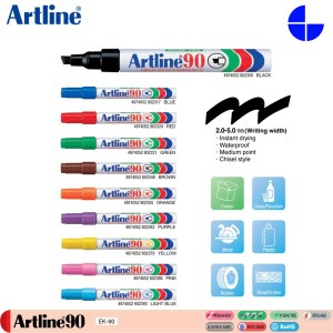 Artline 90 Permanent Marker 2.0-5.0mm Wiritng Width Instant Drying Waterproof (EK-90)