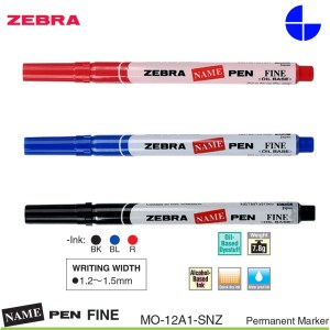 Zebra Name Pen Fine 1.2-1.5mm Writing Width Permanent Marker MO-12A1-SNZ