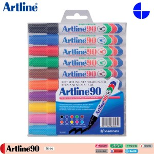 Artline 90/10W Permanent Marker 2.0-5.0mm Writing Width 10 Colours Per Set (EK-90/10W)