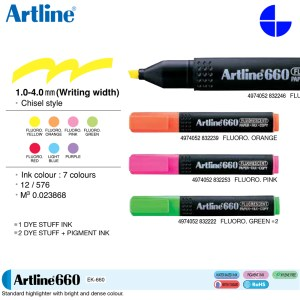 Artline EK-660 Highlighters Bold Fluorescent Colours Marker 1.0-4.0 MM Writing Width